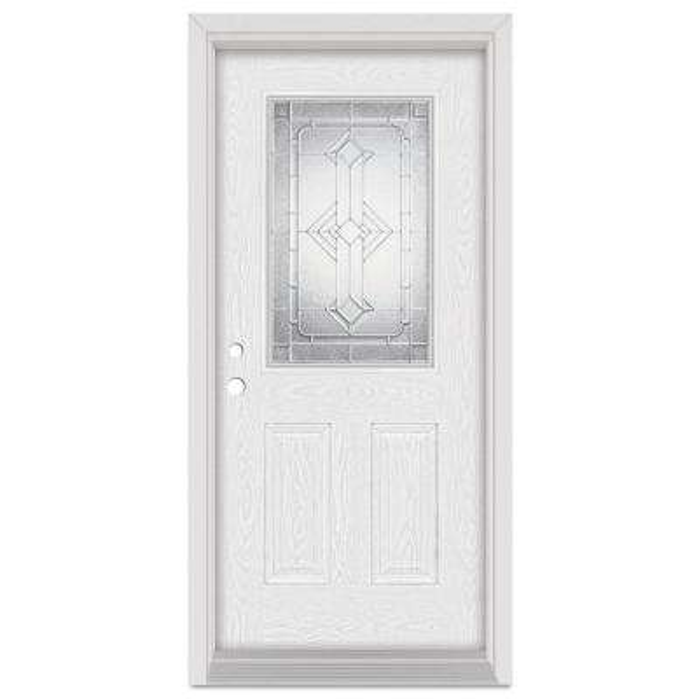 33.375 in. x 83 in. Neo-Deco Right-Hand 1/2 Lite Zinc Finished Fiberglass Oak Woodgrain Prehung Front Door Brickmould