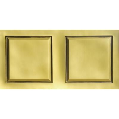 Raised Panel 2 ft. x 4 ft. PVC Lay-in Ceiling Tile in Antique Brass