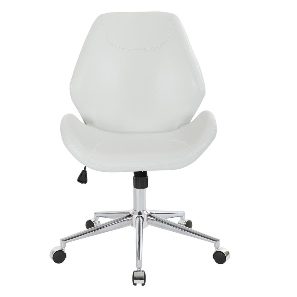 Ave Six Chatsworth White Faux Leather Office Chair With Chrome Base