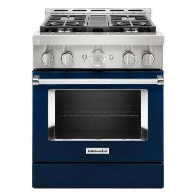 30 in. 4.1 cu. ft. Smart Commercial-Style Gas Range with Self-Cleaning and True Convection in Ink Blue