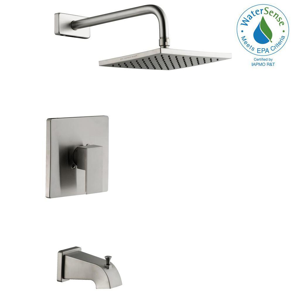 Glacier Bay Marx Single-Handle 1-Spray Tub and Shower Faucet in Brushed Nickel (Valve Included)