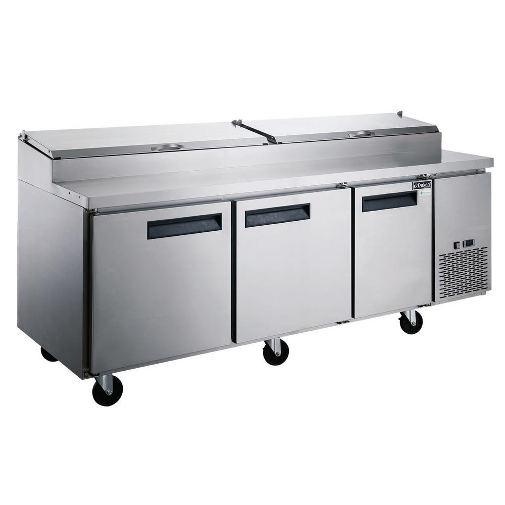 Dukers 24.8 cu. Ft. Commercial 3-Door Pizza Prep Table Refrigerator in Stainless Steel
