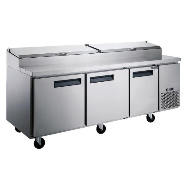 24.8 cu. Ft. Commercial 3-Door Pizza Prep Table Refrigerator in Stainless Steel
