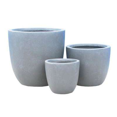17 in. Tall Slate Gray Lightweight Concrete Round Modern Seamless Outdoor Planter (Set of 3)