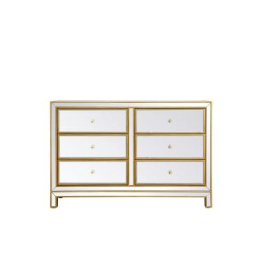32 in. H x 48 in. W x 18 in. D Timeless Home 6-Drawer in Antique Gold Cabinet