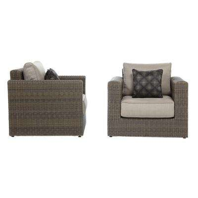 Naples Brown Patio Lounge Chairs with Putty Cushions (2-Pack)