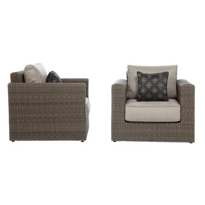 Naples Brown All-Weather Wicker Outdoor Lounge Chairs with Putty Cushions (2-Pack)