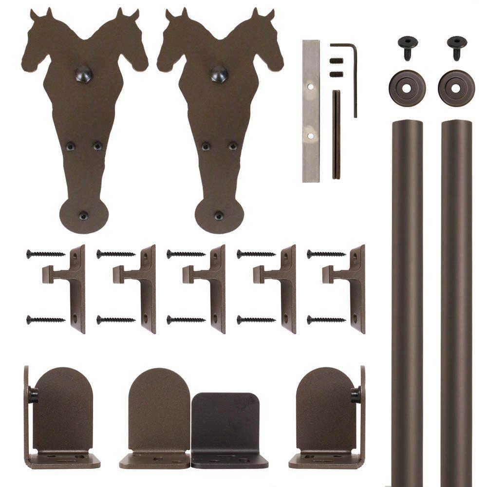 Double Horse Oil Rubbed Bronze Rolling Door Hardware Kit for 3/4 in. to 1-1/2 in. Door