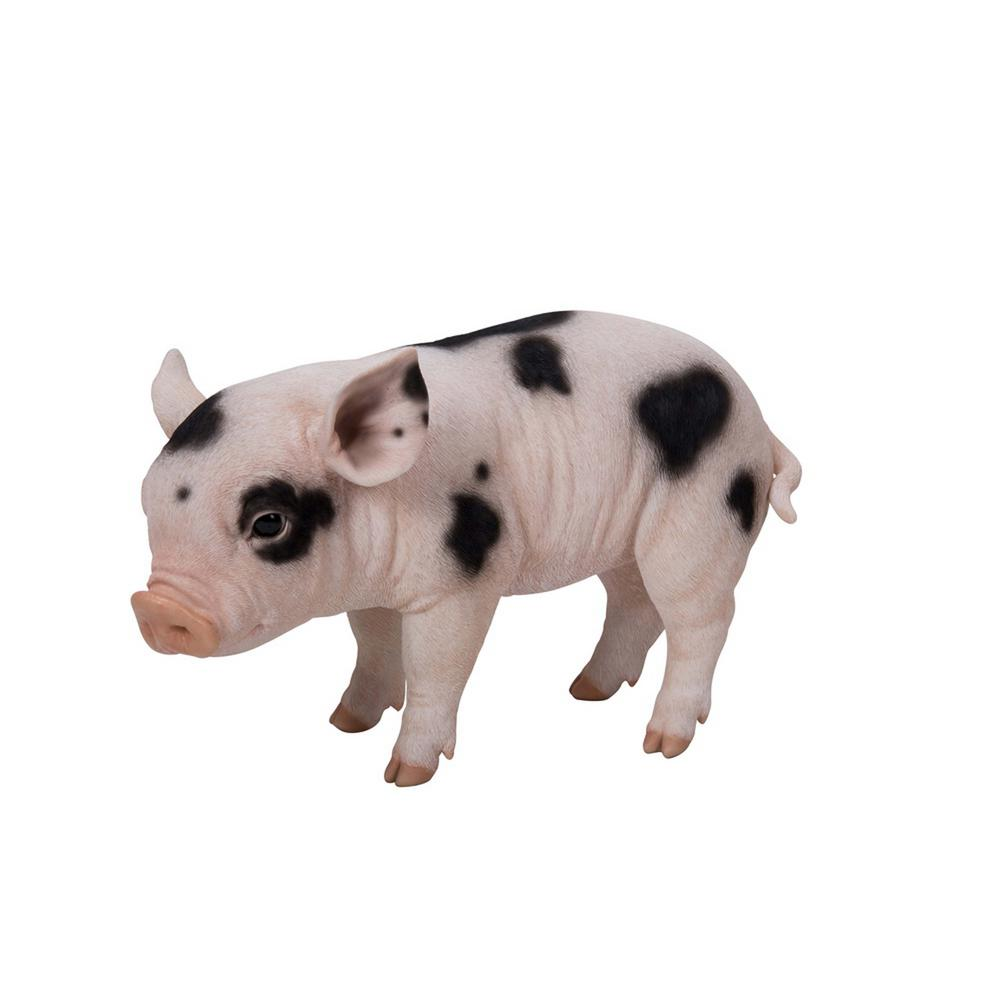 Hi Line Gift Baby Pig With Black Spots Statue 87726 B