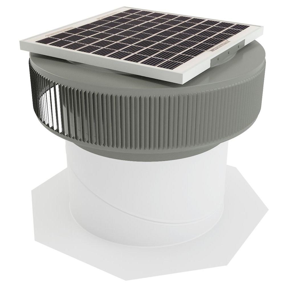 1007 CFM Weatherwood Powder Coated 15-Watt Solar Powered 14 in. Dia