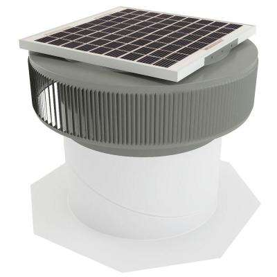 1007 CFM Weatherwood Powder Coated 15-Watt Solar Powered 14 in. Dia Retrofit Attic Roof Fan