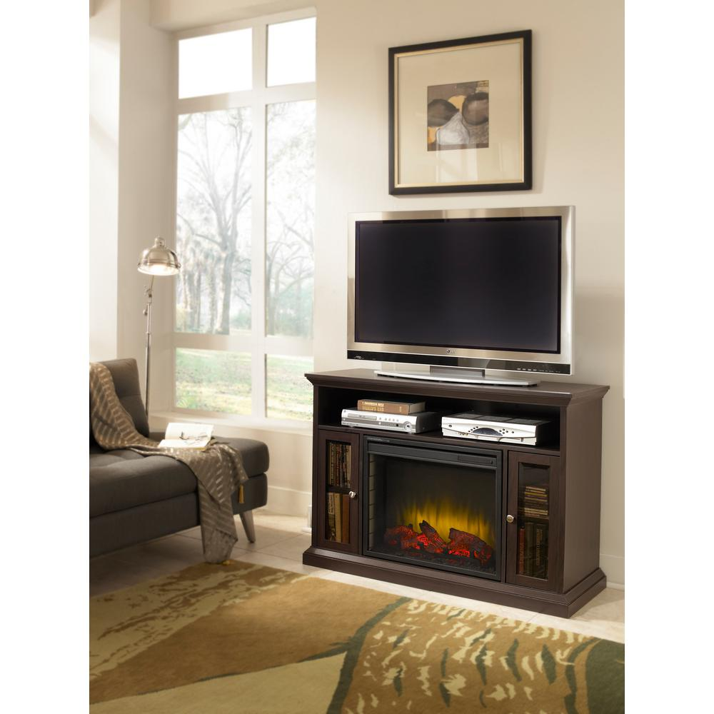 Bring an elegant ambiance and stylish look to your home with this Pleasant Hearth Riley Media Console Electric Fireplace in Espresso.