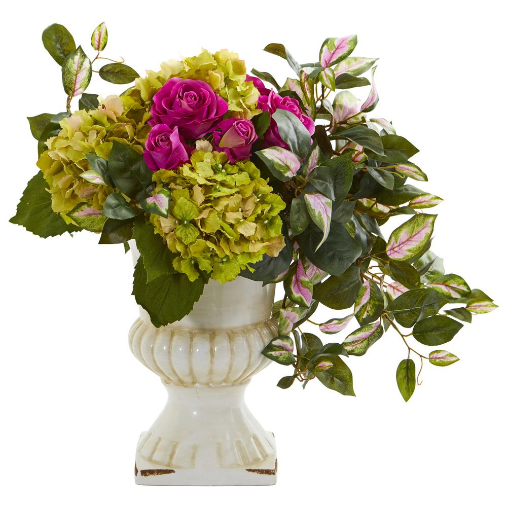 Hydrangea and Hoya Artificial Ceramic Urn Silk Arrangements Nearly Natural 1689 Rose Pink