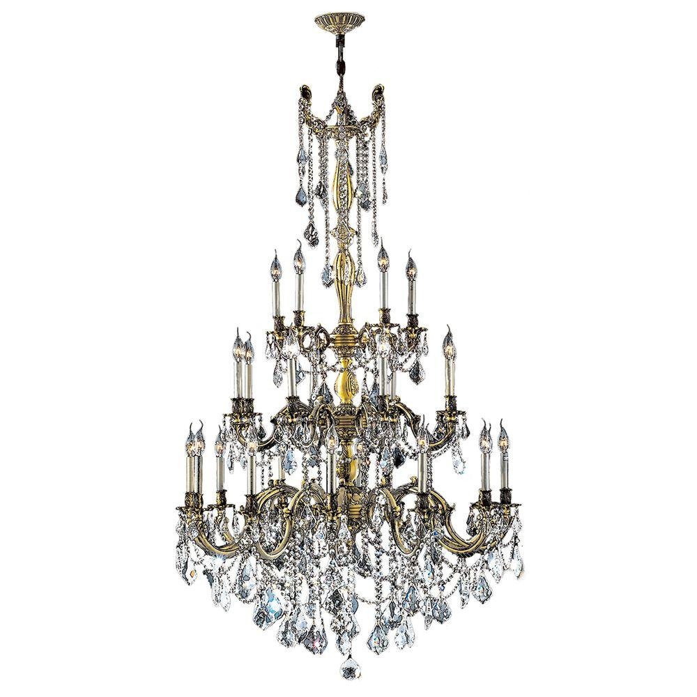 Worldwide Lighting Windsor Collection 25-Light Antique Bronze and Clear Crystal Chandelier