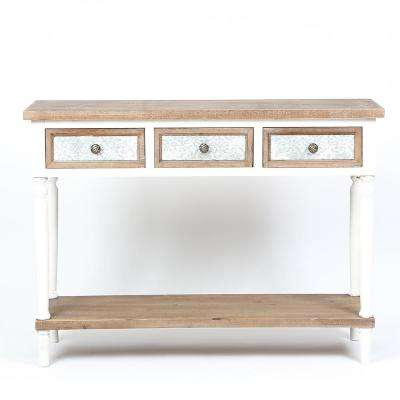 Natural Wood 3-Drawer Wood Console Table with Open Storage