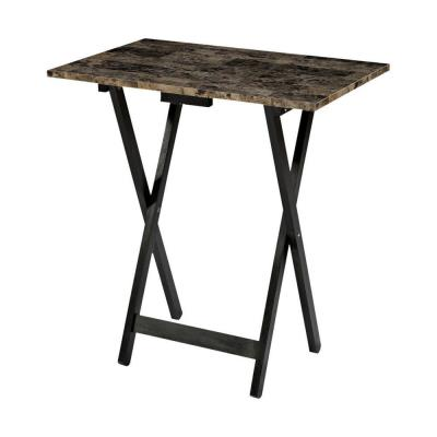 26.38 in. H Brown Wooden 5-Piece Foldable Tray Table Set with Faux Marble Top