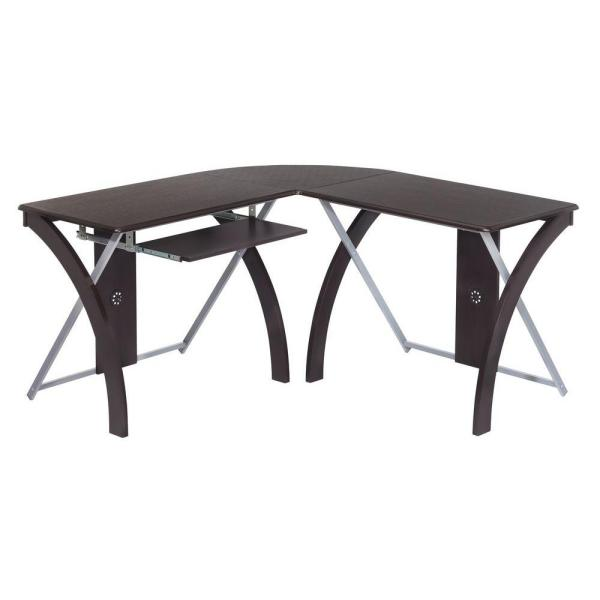 OSP Home Furnishings Espresso and Silver Desk with Pull-Out Keyboard Tray