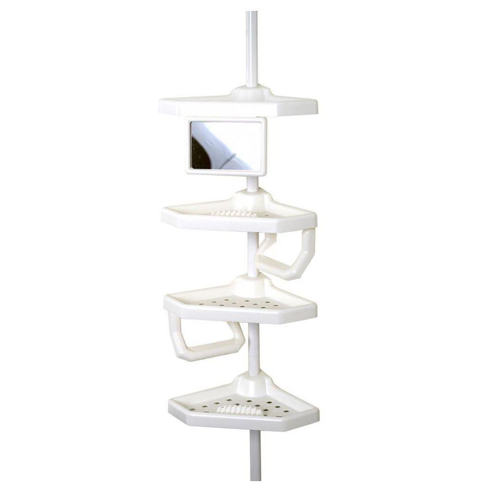 Zenna Home Premium Bathtub and Shower Pole Caddy with 4 Shelves in ...