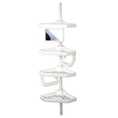 Premium Bathtub and Shower Pole Caddy with 4 Shelves in White