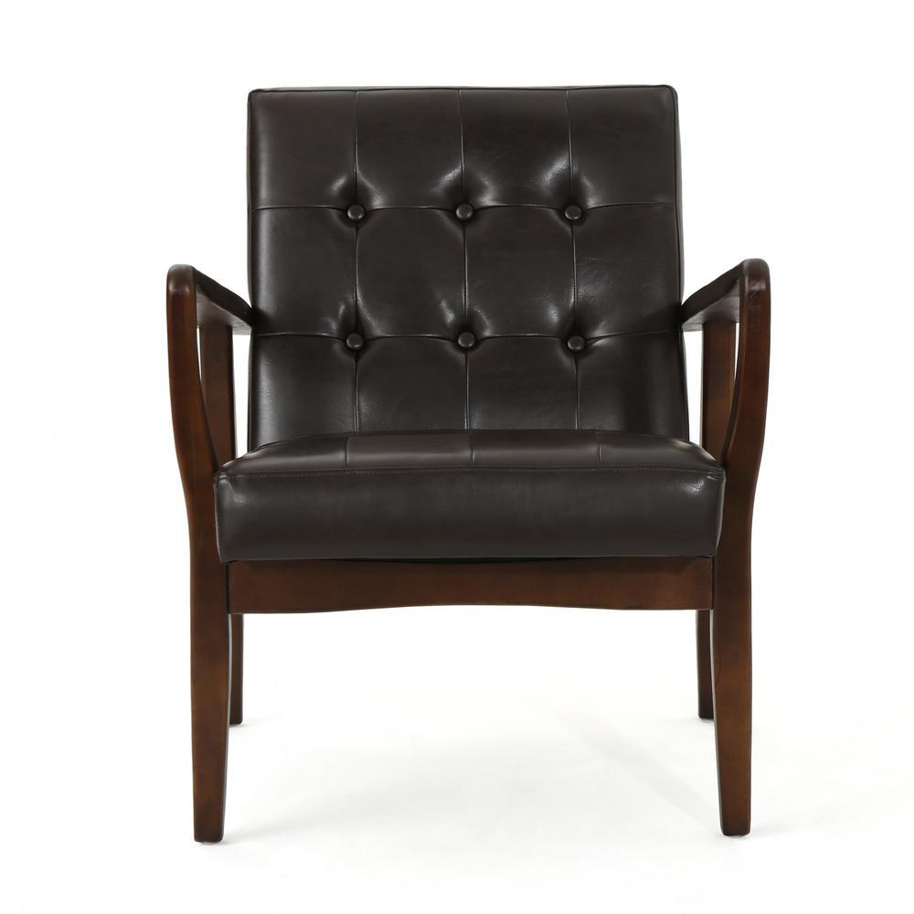 Callahan Mid-Century Modern Button Back Brown Leather Club Chair