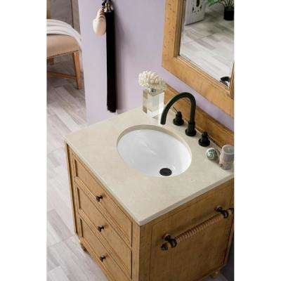 Copper Cove 26 in. Double Bath Vanity in Driftwood Patina with Marble Vanity Top in Galala Beige with White Basin