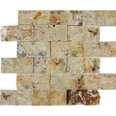 Scabas Splitface 12 in. x 12 in. x 13 mm Travertine Mesh-Mounted Mosaic Tile (4 sq. ft. / case)
