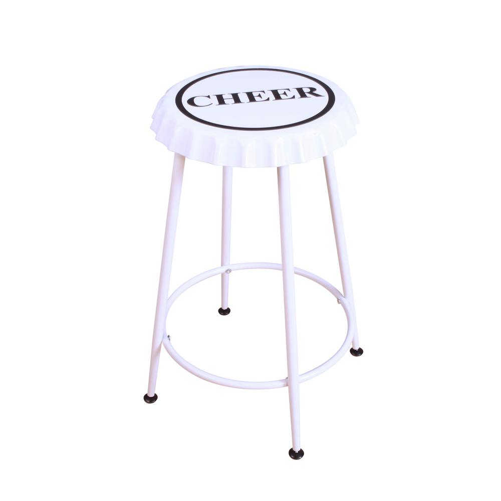 Acme Furniture Mant 24 In White Bar Stool Set Of 2