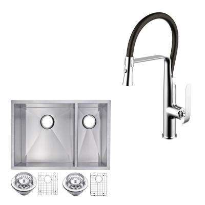 All-in-One Undermount Stainless Steel 29 in. 50/50 Double Bowl Kitchen Sink with Faucet in Chrome Sink Kit