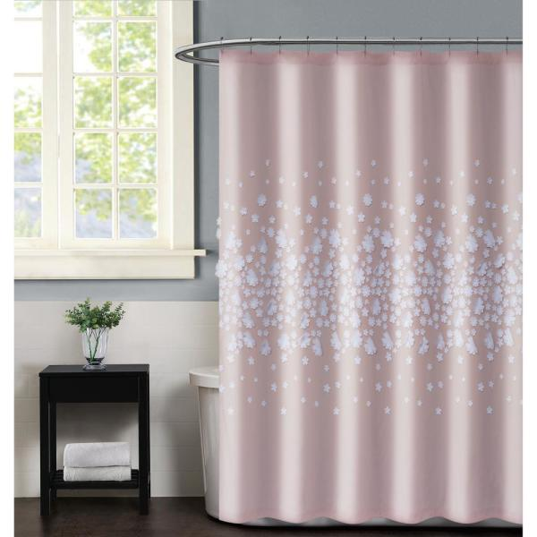 Confetti Flowers 72 in. x 72 in. Blush Shower Curtain