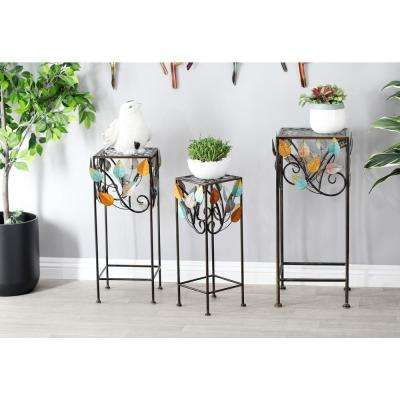 Multi-Colored Iron and Glass Stems and Leaves Square Plant Stands (Set of 3)