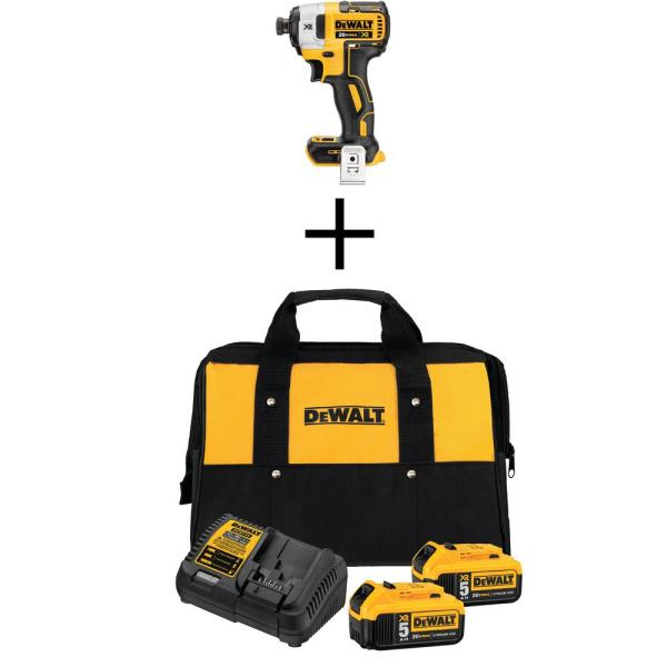 20-Volt Li-Ion Cordless Brushless 3-Speed 1/4 in. Impact Driver (Tool-Only) w/ 20-V Battery 5.0 Ah (2-Pk), Charger & Bag