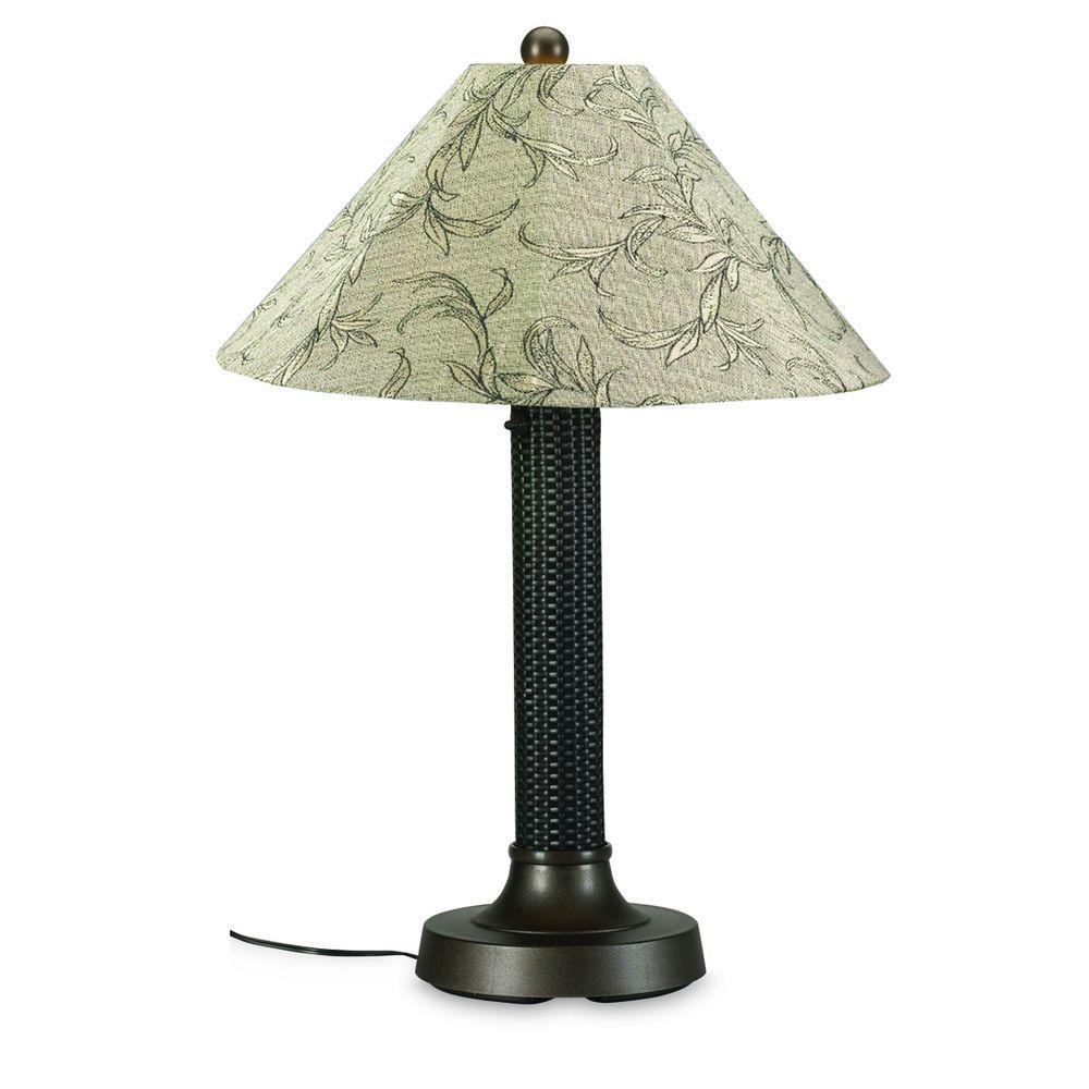 Bahama Weave 34 in. Dark Mahogany Outdoor Table Lamp with Bessemer Shade