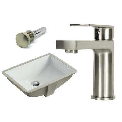 21-1/2 in. Rectangle Undermount Vitreous Glazed Ceramic Sink with Brushed Nickel Bathroom Faucet /Pop-up Drain Combo