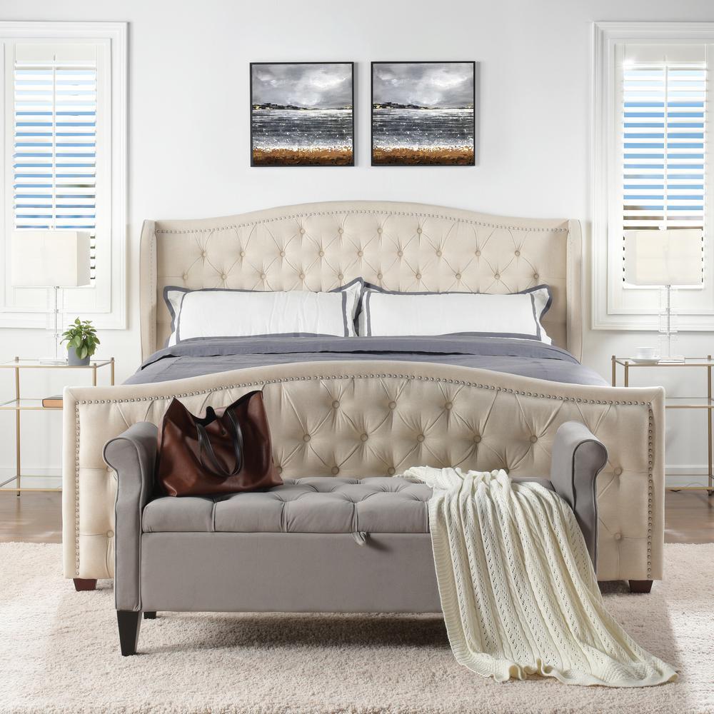Marcella Sky Neutral King Upholstered Bed