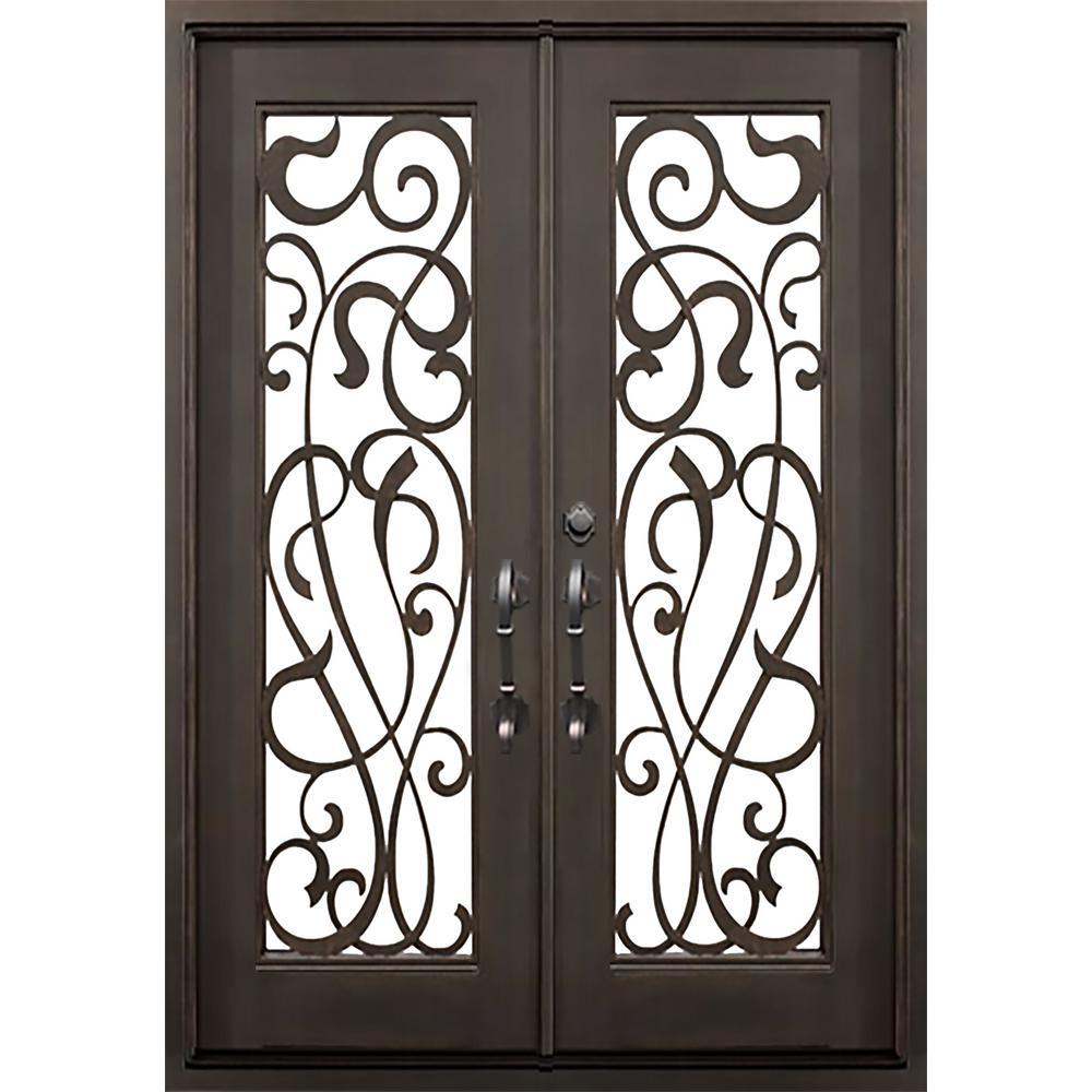 Allure Iron Doors Windows 74 In X 81 5 In Flat Top St Lucie Dark Bronze 3 4 Lite Painted