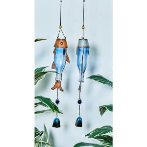 32 inch Blue Glass and Rust-Finished Iron Fish and Lure Wind Chimes (Set of 2) by
