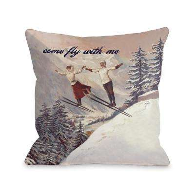 Come Fly with Me Vintage Skill 16 in. x 16 in. Decorative Pillow