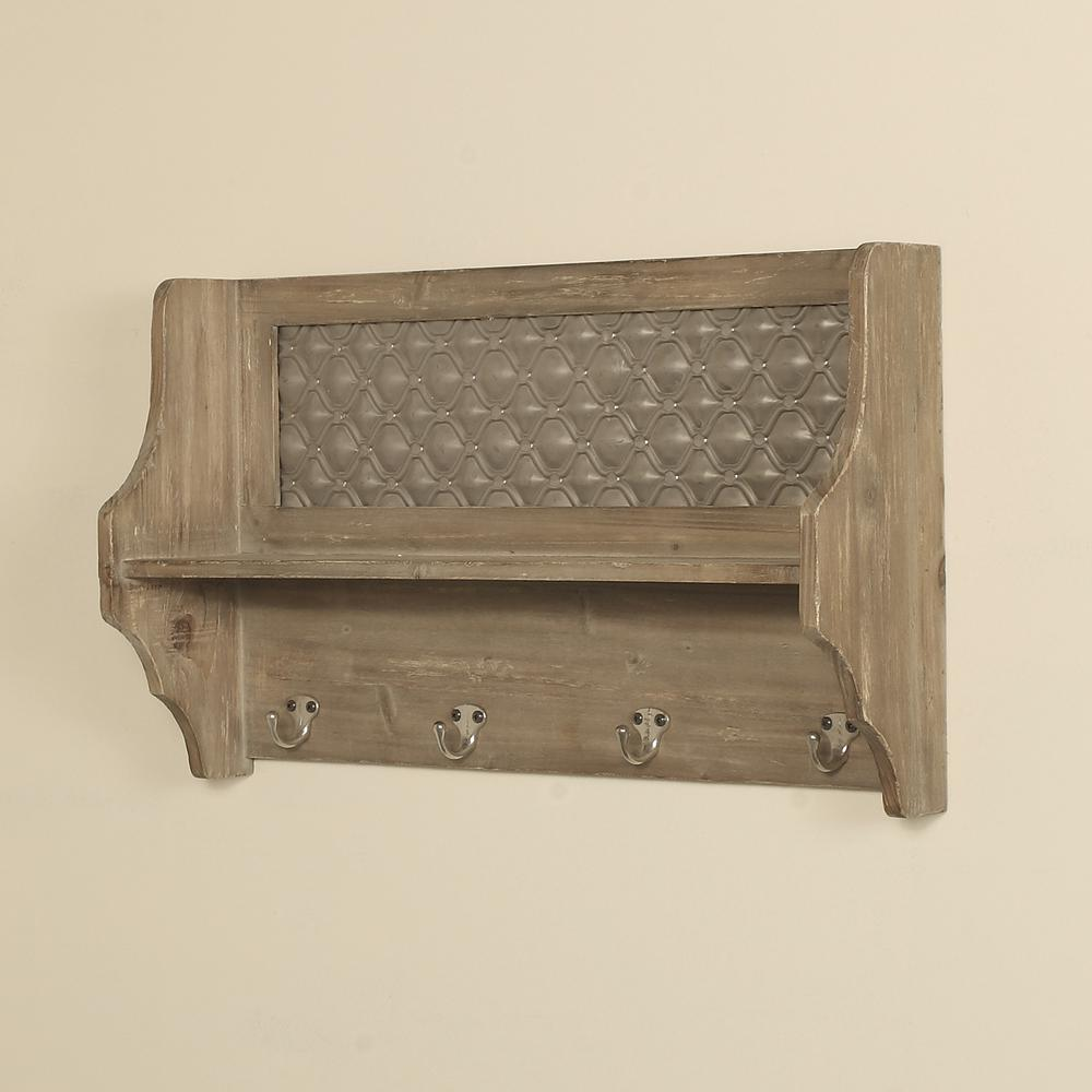 natural wood wall shelf with hooks 4287 the home depot rh homedepot com decorative wall shelf with hooks decorative shelf with hooks