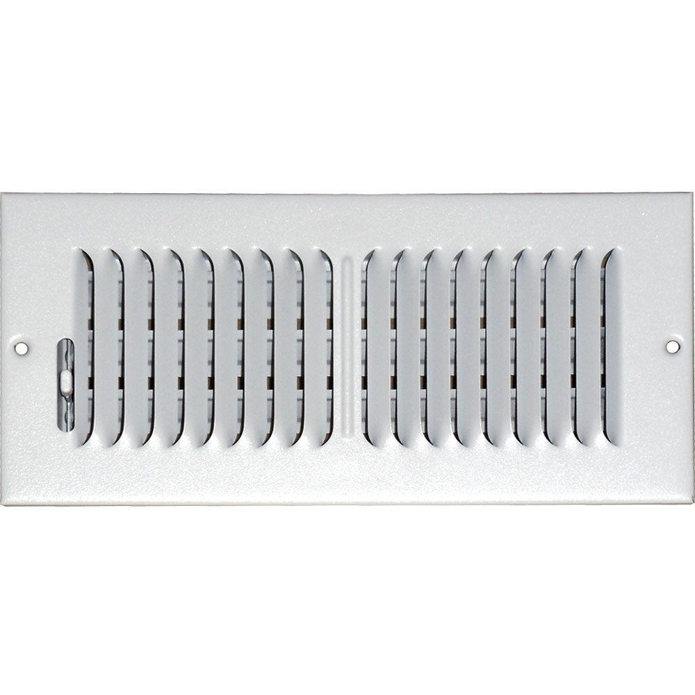 4 in. x 12 in. Ceiling/Sidewall Vent Register, White with 2-Way