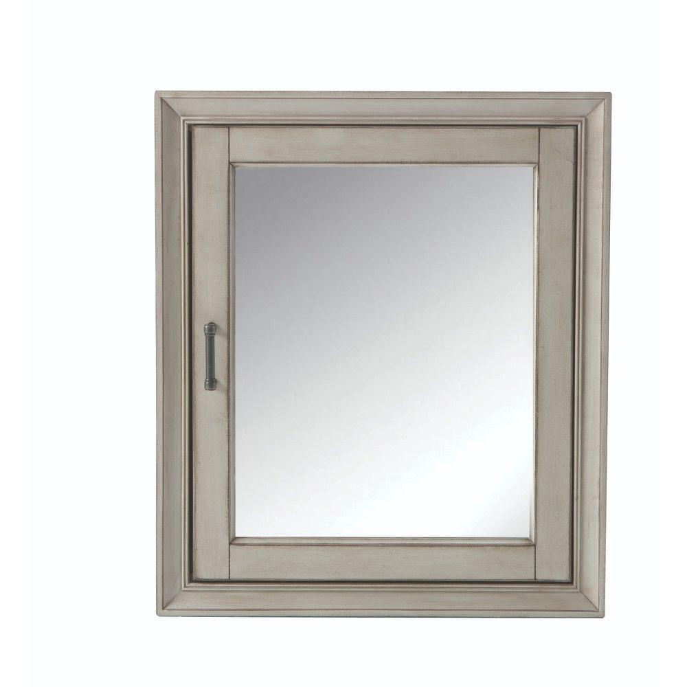 Hazelton 24 in. W x 28 in. H Framed Surface-Mount Bathroom Medicine Cabinet in Antique Grey