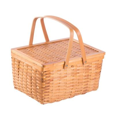 Classic Rectangular Large Wood Chip Picnic Basket with Lid with Movable Handles
