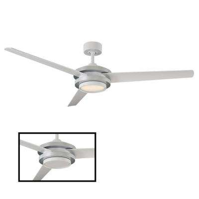 Venus 60in LED Indoor/Outdoor Titanium Silver 3-Blade Smart Ceiling Fan with 3000K Light Kit and Wall Control