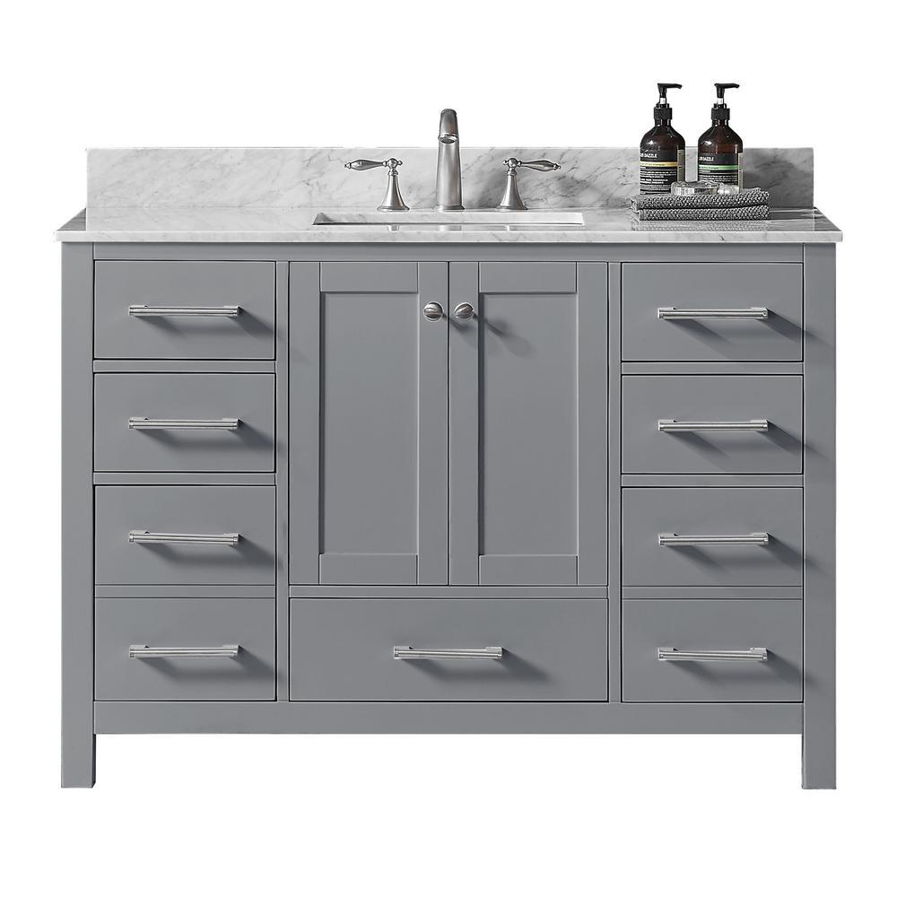 Colette 48 in. W x 22 in. D x 34.2 in. H Bath Vanity in Taupe Grey w/ Carrara Marble Vanity Top in White w/ White Basin