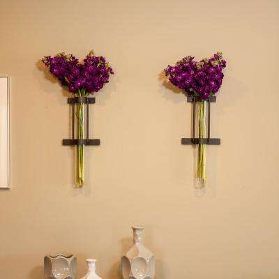Urbanne Rustic Black Wall Mount Cylinder Glass Cylinder Decorative Vases (Set of 2)