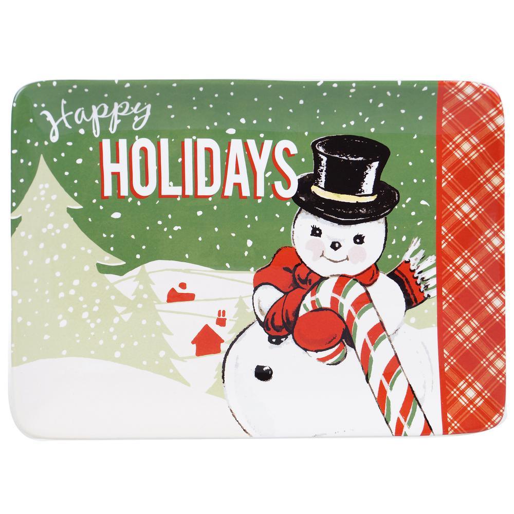 Retro Christmas Earthenware Rectangular Platter