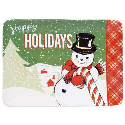 Retro Christmas Earthenware Rectangular Platter