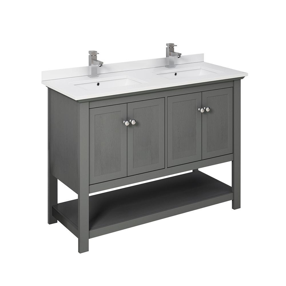 Fresca Manchester Regal 48 In W Bathroom Double Vanity In Gray