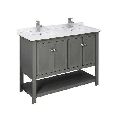 Manchester Regal 48 in. W Bathroom Double Vanity in Gray Wood with Ceramic Vanity Top in White with White Basins