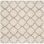 Hudson Shag Ivory/Gray 8 ft. x 8 ft. Square Area Rug