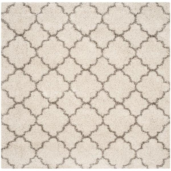Hudson Shag Ivory/Gray 9 ft. x 9 ft. Square Area Rug